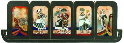 Е.Н.Евдокимова. Венецианский карнавал. Медь. эмаль, дерево. 100х27. 2013