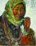Н.Кулёва. Пастух-эвенка. 1963. 32х43 см., картон, масло.