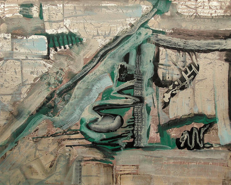 М.Ф.Серикова. Год Дракона. 2000. 80х100 см. акрил, золото.