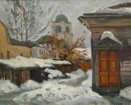 Б.К. Гогин. Дворик. 1995. Картон, масло. 40×50 см.