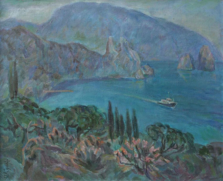 Н.Кулёва. Гурзуф. Гора Медведь. 1973. 52,5х65 см., картон, масло.