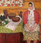 В.А.Ульянов. Хозяйка. 1968. 110х120 см. холст, масло.