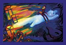 """Н.Д.Болотцева. Илл. к сказке О.Растегаевой """"Художник Поль и Лунный кот"""". Бум, акв., цв.кар. 41х59 см. 2013 г."""