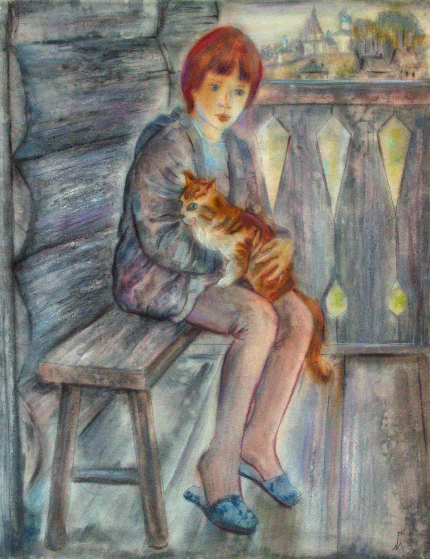 М.В.Реутова. Деревенские каникулы. 1997. Б., акв. 70х53.