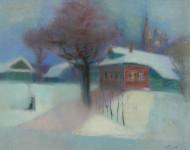 Л.Б. Ковалевская. Зимний вечер. 2006 г. Бум., пастель. 39х52.