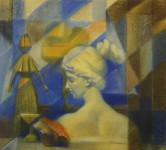 Л.Б. Ковалевская. Натюрморт с гипсовой головкой. 2000 г. Бум., пастель. 40х50.
