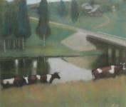 Л.Б. Ковалевская. Коровы. 2009. Бумага, пастель. 47х57.