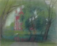 Л.Б. Ковалевская. Этюд в зелёных тонах. 2001 г. Бум., пастель.44х55.