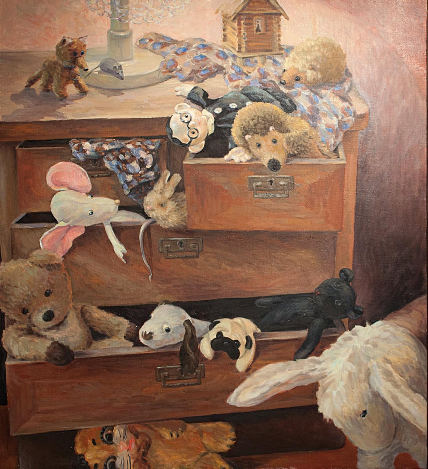 Н.Д.Болотцева. Комод с игрушками. Холст, масло. 110х100 см. 2004 г.