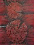 Н.Д.Болотцева. Красные брёвна. Бумага, смешанная техника. 64,5х49,5 см. 2008 г.