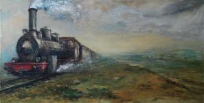 А.И. Кравцов. Паровоз по рельсам. 2012. Холст, масло, 60х120см.