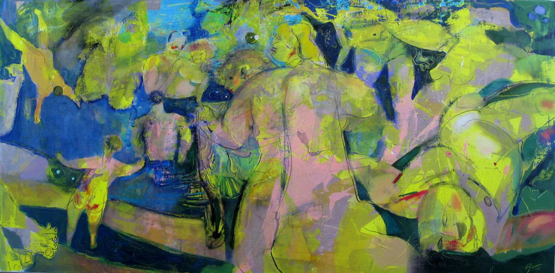 А.Л.Аранышев. Купальщики. 2015 г. 70х140 см. Холст, масло, акрил.