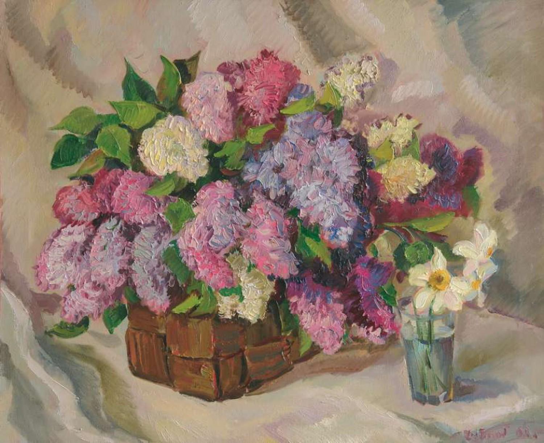 В.Литвинов. Натюрморт с сиренью. Х.м., 65х80. 2007