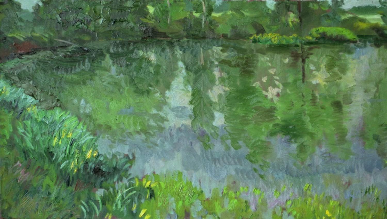 В.Литвинов. Отражение. Пруд Берлюково. 40 X 70, х.м., 2003