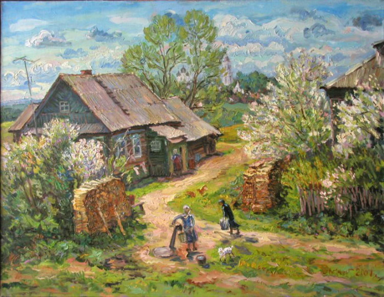 В.Литвинов - Деревенские новости. Курба. 73 X 92, х. м., 2001 г.
