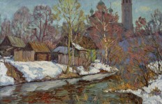 В.Литвинов. Последний снег. Вятское. 50 X 80, х. м., 2002