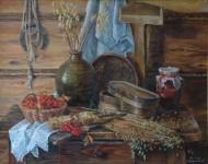 Л.В.Андрианова. Родная деревня. 2002 г. Холст, масло.