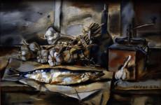 Б.Б. Лейфер. Натюрморт с селёдкой. 1996. Холст, масло. 50 х 75.5 см.