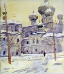 Ю.В. Лобачёв. Зима. Воскресенский монастырь. 1999. Бум., акв.