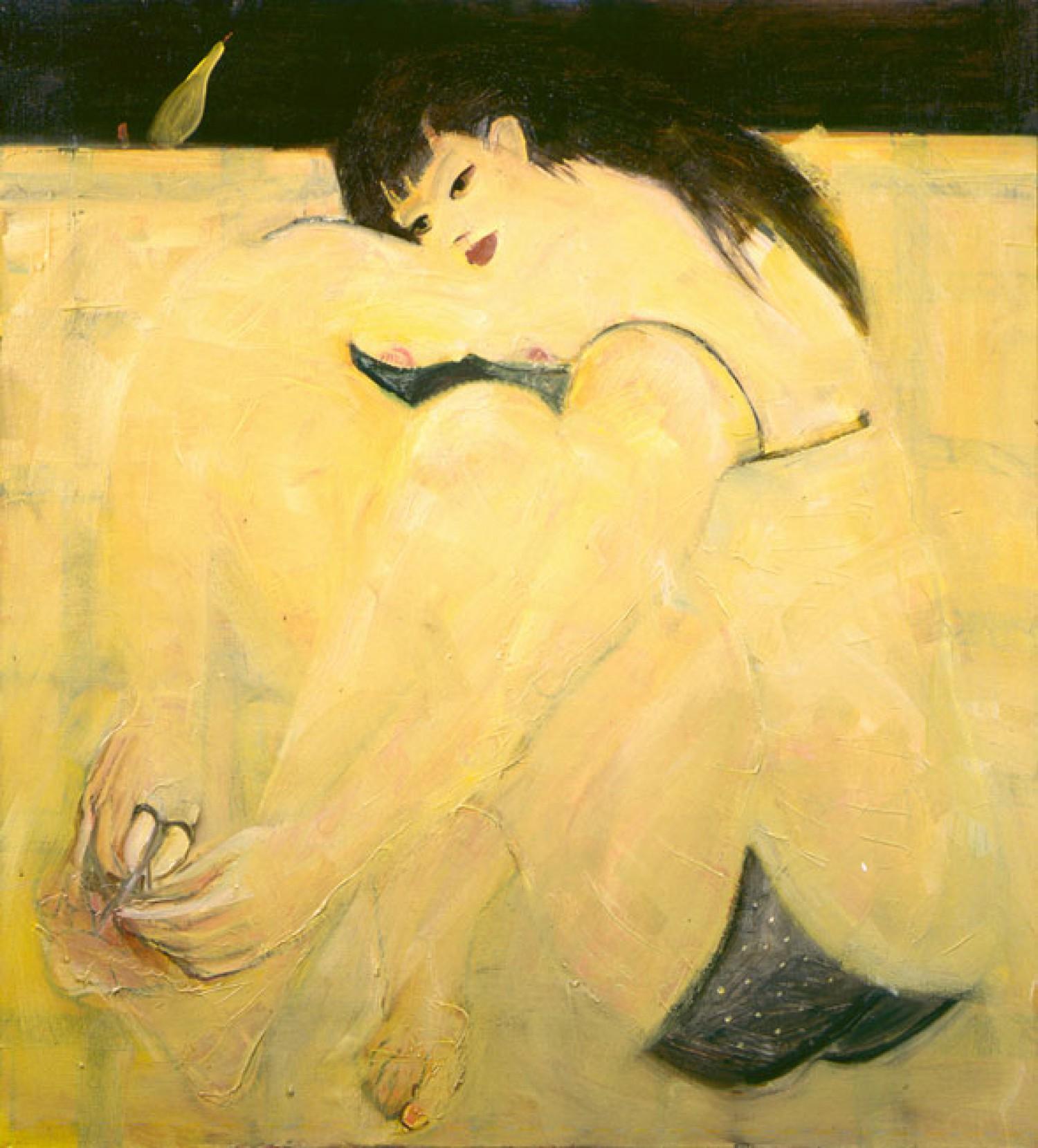 Е.Ф.Мухина. Педикюр. Х.м., темпера. 110х110. 1993