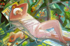 Е.Ф.Мухина. Под яблоней. Холст, масло. 35х50. 1996 г.