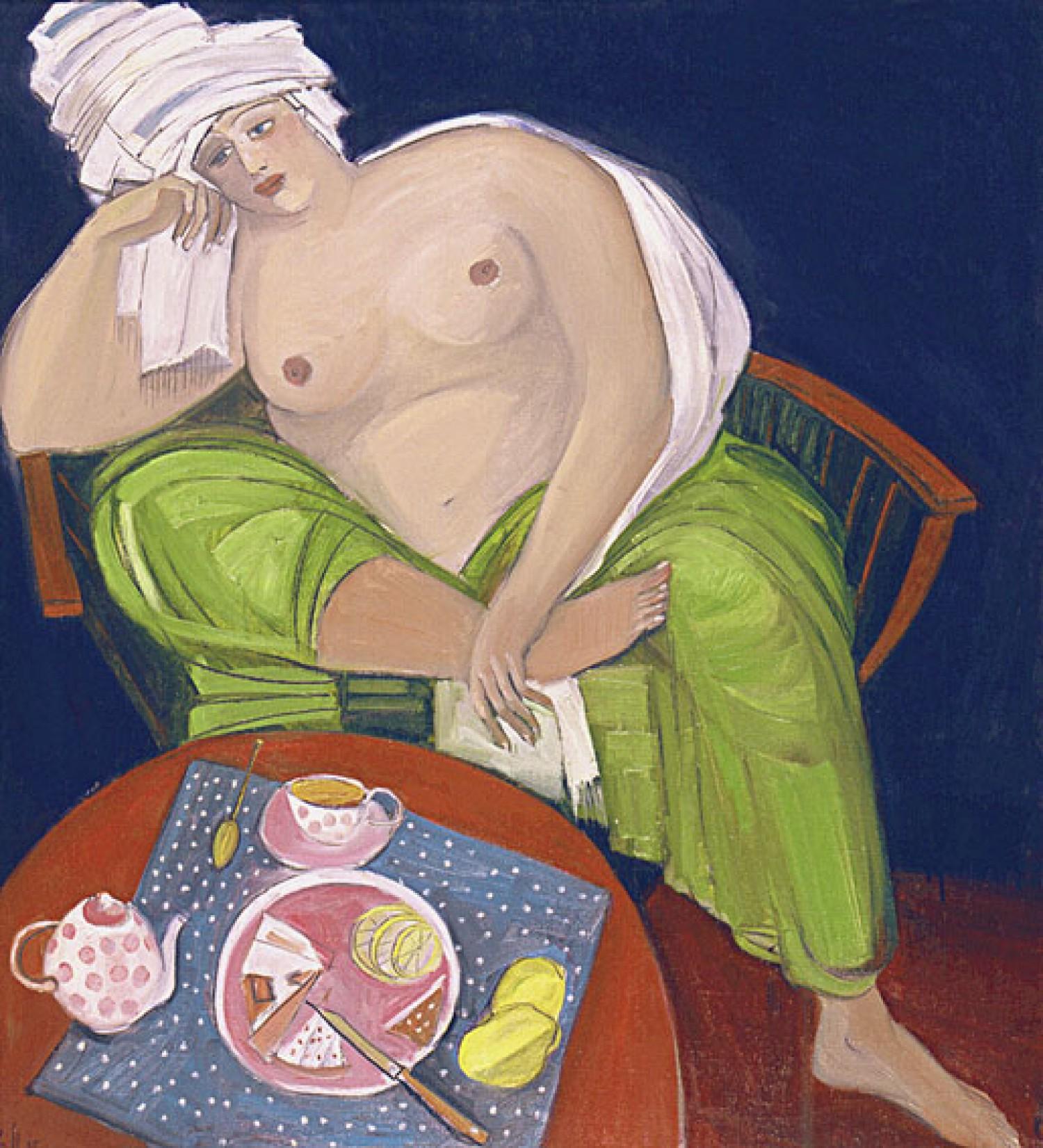Е.Ф.Мухина. После бани. Холст, масло, акрил. 105х110. 1994 г.