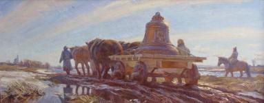 А.В.Городничев. Медный колокол. 2008. Холст, масло. 40х100 см.