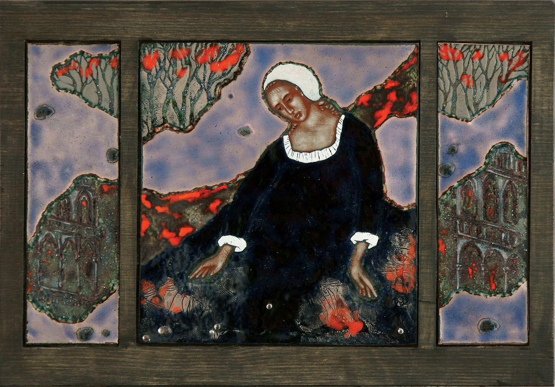 """Стелла Арутюнова """"Ртуть"""" (из серии """"Алхимия""""). 2013 г. Медь, эмаль, дерево. 30х40 см."""