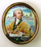 Б.М.Михайленко. Граф А.И. Мусин-Пушкин. Портрет-миниатюра. 1986 г.. Финифть. Металл, эмаль. 10,7х9,5.