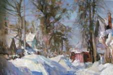 В.А. Назаренко. Зима в Иваньково. 2011. Х., м. 40х60 см.