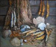 В.М.Зарослов. Натюрморт с ракушками и омулем. 2009 г. Холст, масло. 60х70 см.