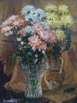 Т.В. Никонова. Хризантемы. 2000. Картон, масло. 60×45 см.