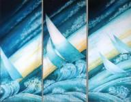 Н.А.Молодцова. Всадники моря. 2012 г. Хлопок, горячий батик. 195х80 см. (3)