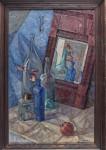 М.А.Кабанов. Натюрморт с зеркалом, бутылками и гранатом. Х.м.