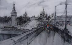 А.В. Овчинников. Москва. Мост. 2006. Бумага, акварель. 39х60 см.