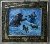 К.В.Золотайкин. Охота на медведя. 2005. 19х20 см. медь, эмаль, латунь, гравировка.