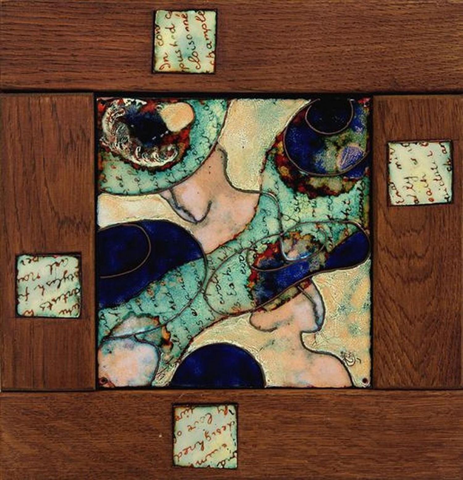 """Стелла Арутюнова """"Старые письма"""". 2007 г. Медь, эмаль, дерево. 30х30 см."""