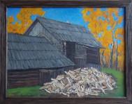 В.К.Золотайкин. Осень в деревне. 2014. 60х80 см., двп, масло.