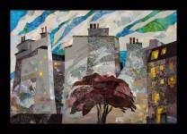 В.Максимова. Парижский двор. 70х90 см., текстильный коллаж.