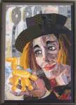 В.Максимова. Парижский клоун. 90х70 см., текстильный коллаж.