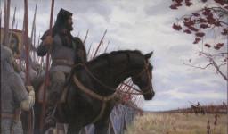 А.В. Городничев. Александр Пересвет. 1998. Оргалит, масло. 45х75.