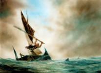 А.К. Петров. Старик и море. Кадр из анимационного фильма. 1999