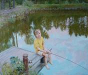 А.В.Пивень. Е.Н.Пивень. Максимка ловит рыбу. 2010. Холст, масло. 45х55 см.