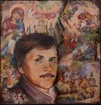 В.И.Поляков. Портрет В.П.Грудинина. 2015. Медь, горячая эмаль, роспись по эмали, дерево, латунь.