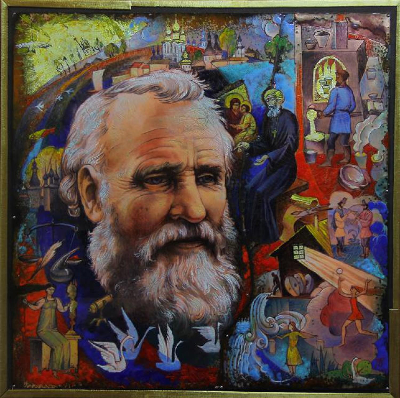 В.И.Поляков. Портрет А.Г.Алексеева. 2015. Медь, горячая эмаль, роспись по эмали, дерево, латунь.