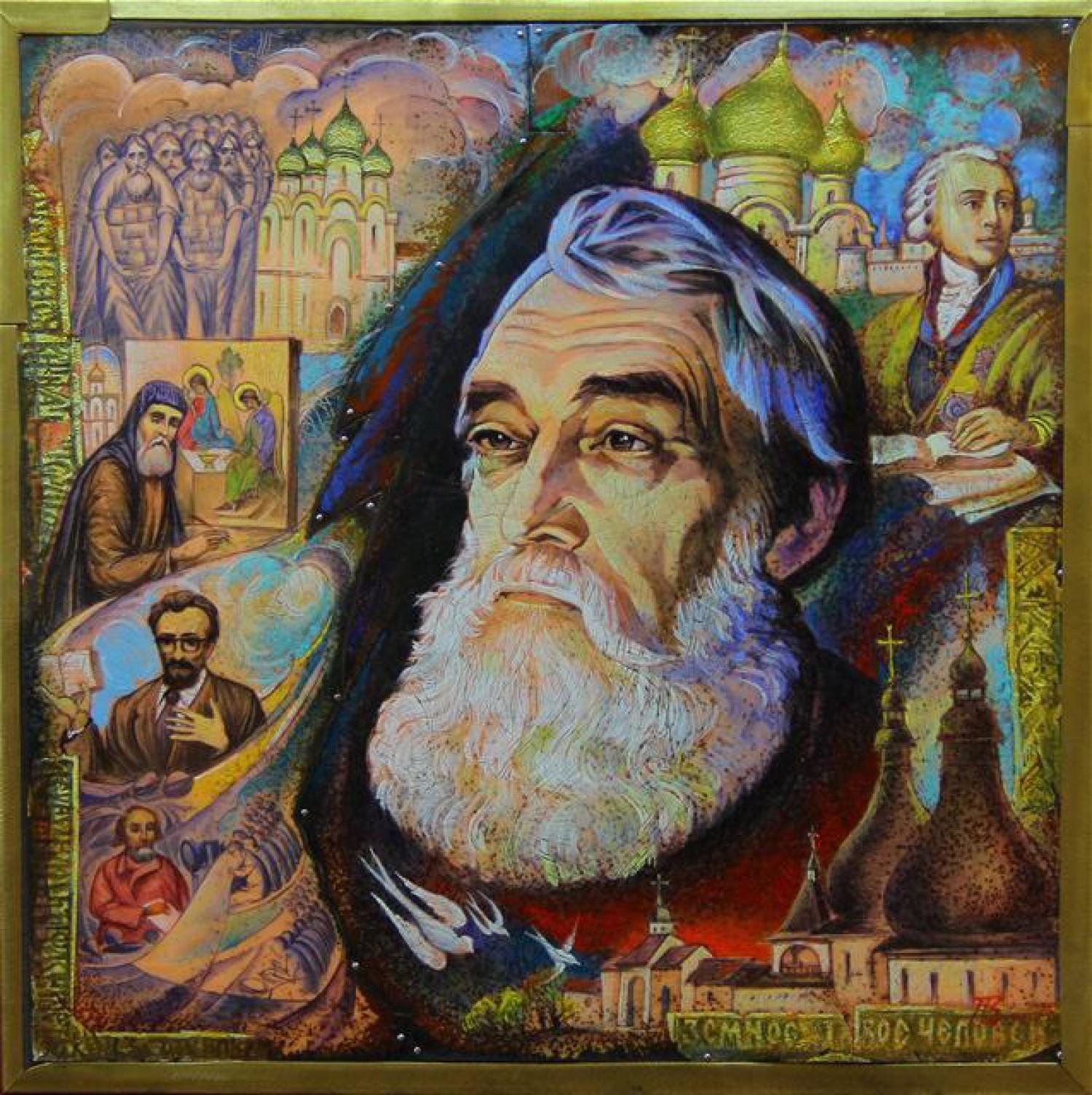 В.И.Поляков. Портрет Б.М.Михайленко. 2015. Медь, горячая эмаль, роспись по эмали, дерево, латунь.