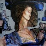 А.Л.Аранышев. Портрет с веером. 2015 г. 80х80 см. Холст, акрил, масло.