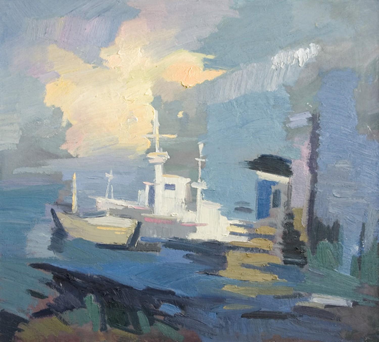 Д.Г.Новиков. Пристань на Белом море. 2008. 90х100 см., холст, масло.