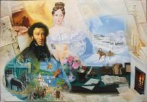 Ф.И.Куницын. А.С.Пушкин с женой. 2005.114х64 см. холст, масло.