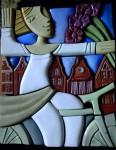 Е.В.Смирнов. Галопом по Европам. 41х45 см. керамика, мозаика, 4 цветные глазури, люстр